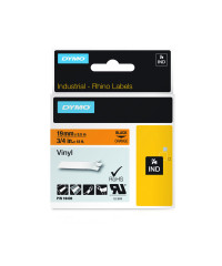 Dymo RHINO 18436 IND - vinyl label tape - 19mm zwart op oranje - verpaking
