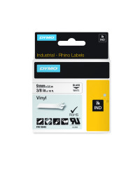 Dymo RHINO 18443 IND - vinyl label tape - 9mm zwart op wit - verpaking