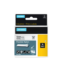 Dymo RHINO 18488 IND - Nylon label tape - 12mm zwart op wit - verpaking