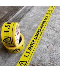 1,5 meter afstand houden aub tape in gebruik