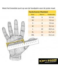 Maattabel handschoen