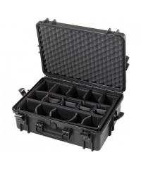 Gaffergear Case 050 zwart met klittenbandvakverdeling