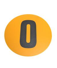Magazijn vloersticker - Ø 19 cm - geel / zwart - Cijfer 0