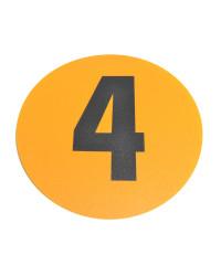 Magazijn vloersticker - Ø 19 cm - geel / zwart - Cijfer 4
