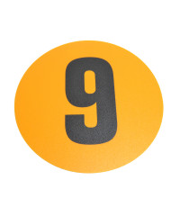 Magazijn vloersticker - Ø 19 cm - geel / zwart - Cijfer 9