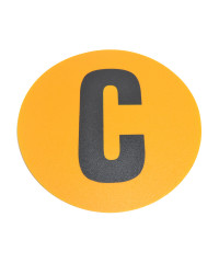 Magazijn vloersticker - Ø 19 cm - geel / zwart - Letter C