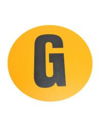 Magazijn vloersticker - Ø 19 cm - geel / zwart - Letter G