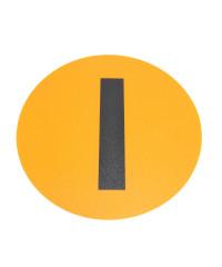 Magazijn vloersticker - Ø 19 cm - geel / zwart - Letter I