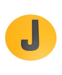 Magazijn vloersticker - Ø 19 cm - geel / zwart - Letter J