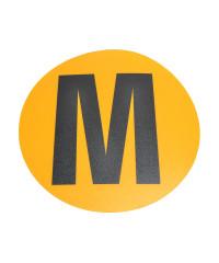 Magazijn vloersticker - Ø 19 cm - geel / zwart - Letter M