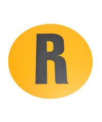 Magazijn vloersticker - Ø 19 cm - geel / zwart - Letter R