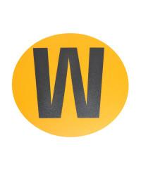 Magazijn vloersticker - Ø 19 cm - geel / zwart - Letter W