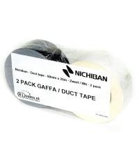Nichiban - Duct tape - 50mm x 25m - Zwart / Wit verpakking