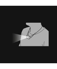 Petzl Bindi kan makkelijk om de nek gehangen worden