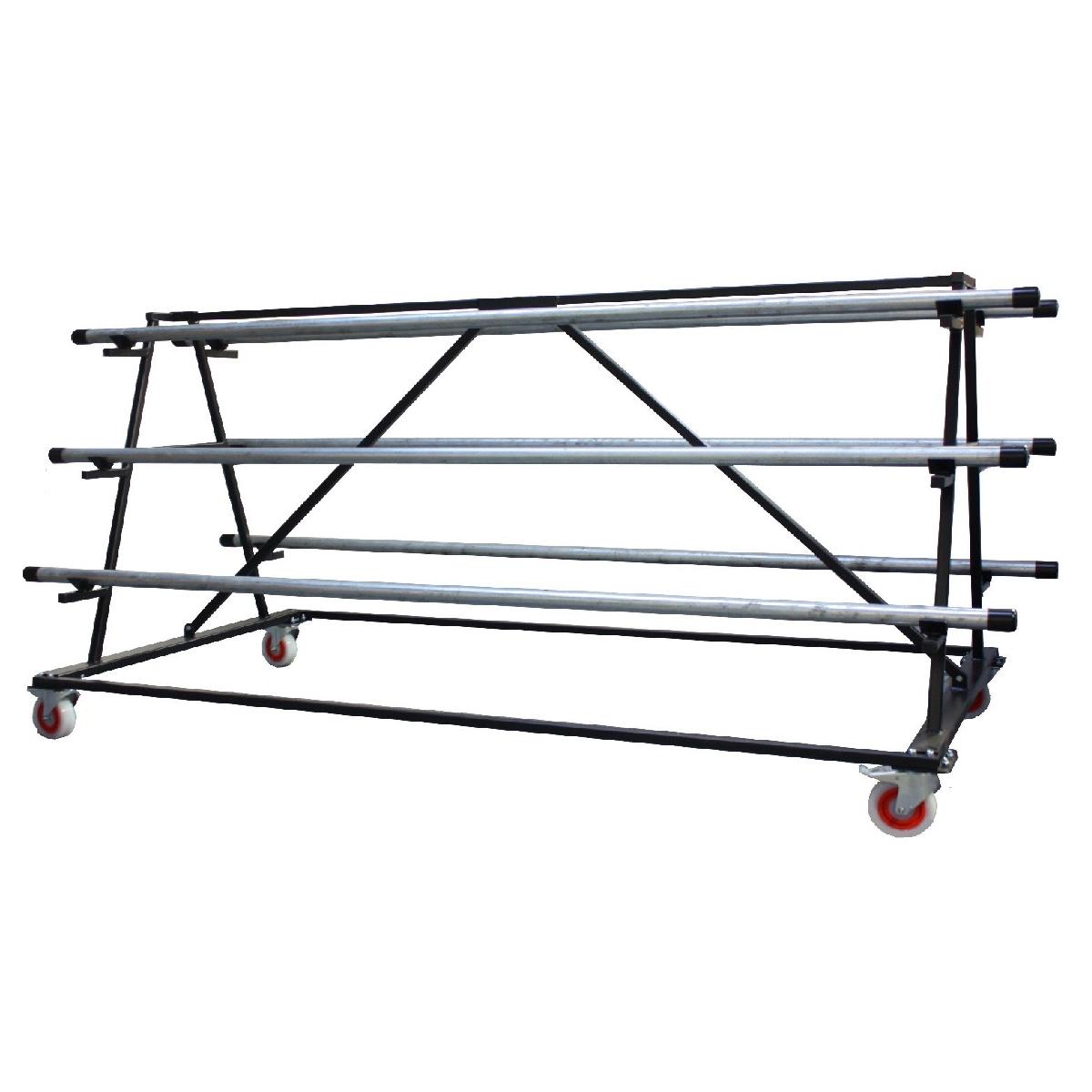 Transportkar voor vinyl dansvloeren - 6 rollen van 2m breed