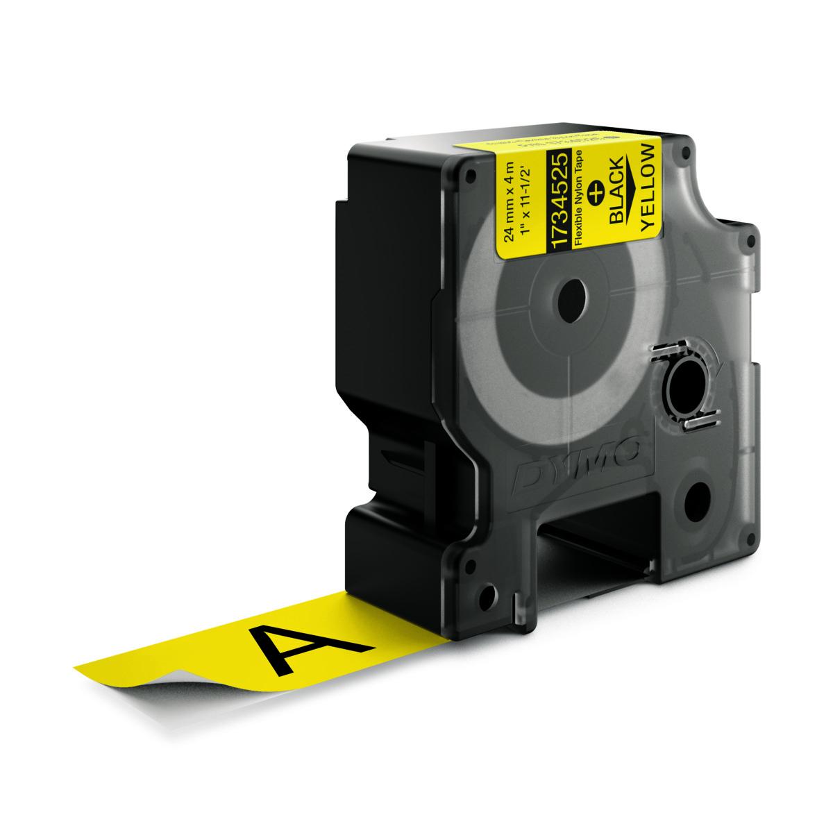 Dymo RHINO 1734525 IND - Nylon flexible label tape - 24mm zwart op geel