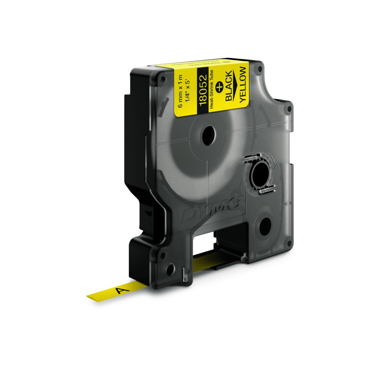 Dymo RHINO 18052 - IND Krimpkous label - 6mm zwart op geel