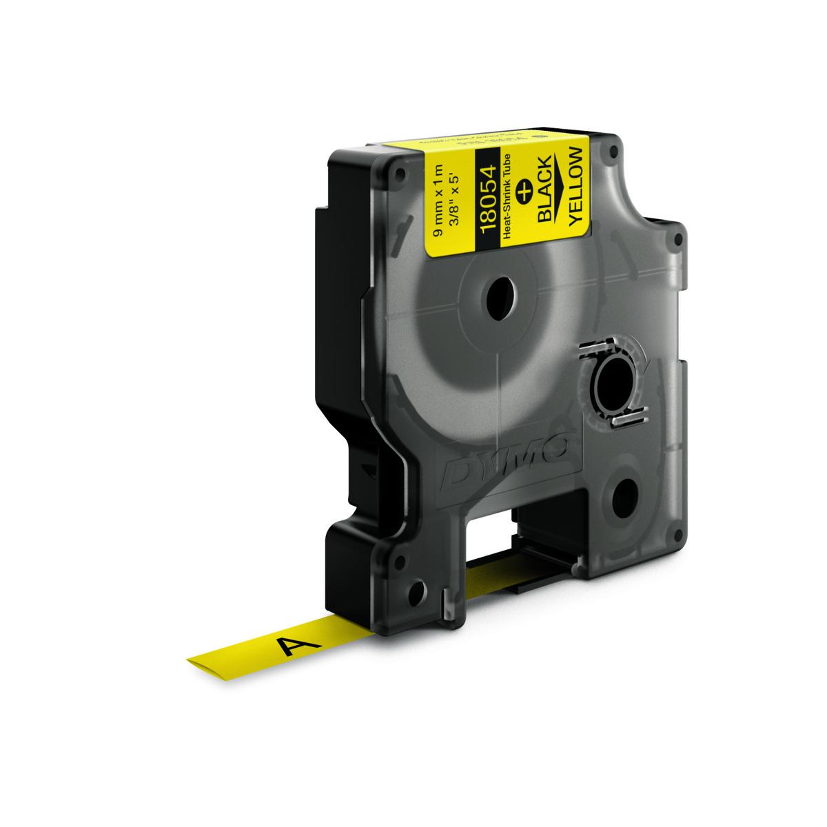 Dymo RHINO 18054 - IND Krimpkous label - 9mm zwart op geel
