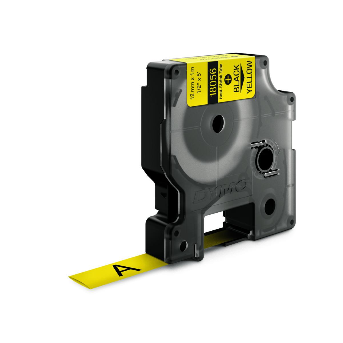 Dymo RHINO 18056 - IND Krimpkous label - 12mm zwart op geel