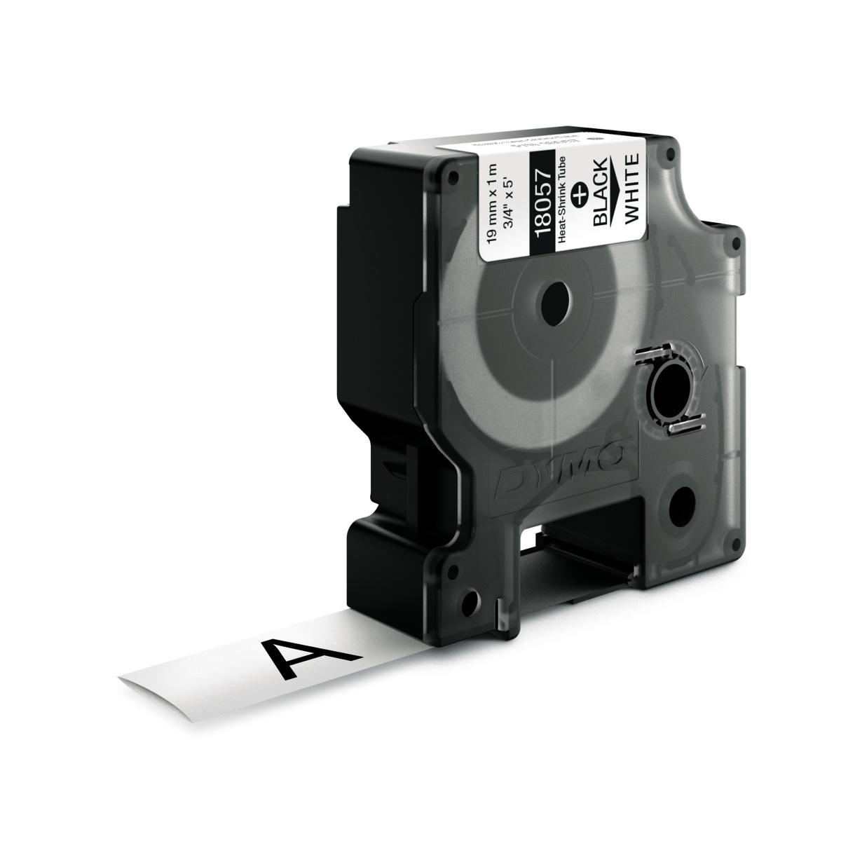 Dymo RHINO 18057 - IND Krimpkous label - 19mm zwart op wit