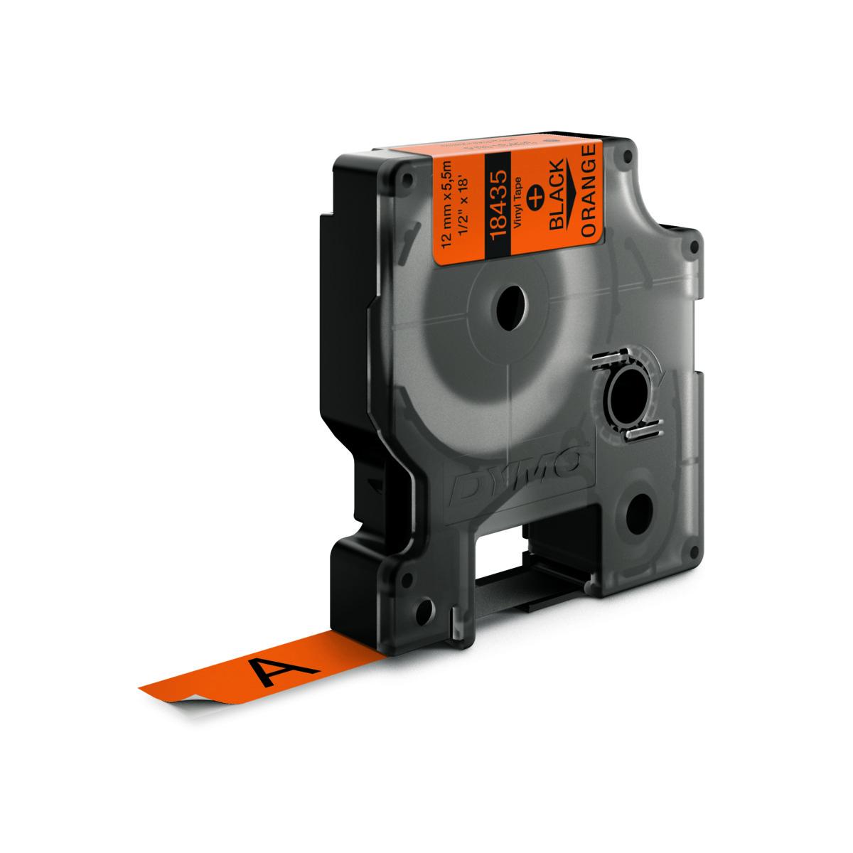 Dymo RHINO 18435 IND - vinyl label tape - 12mm zwart op oranje