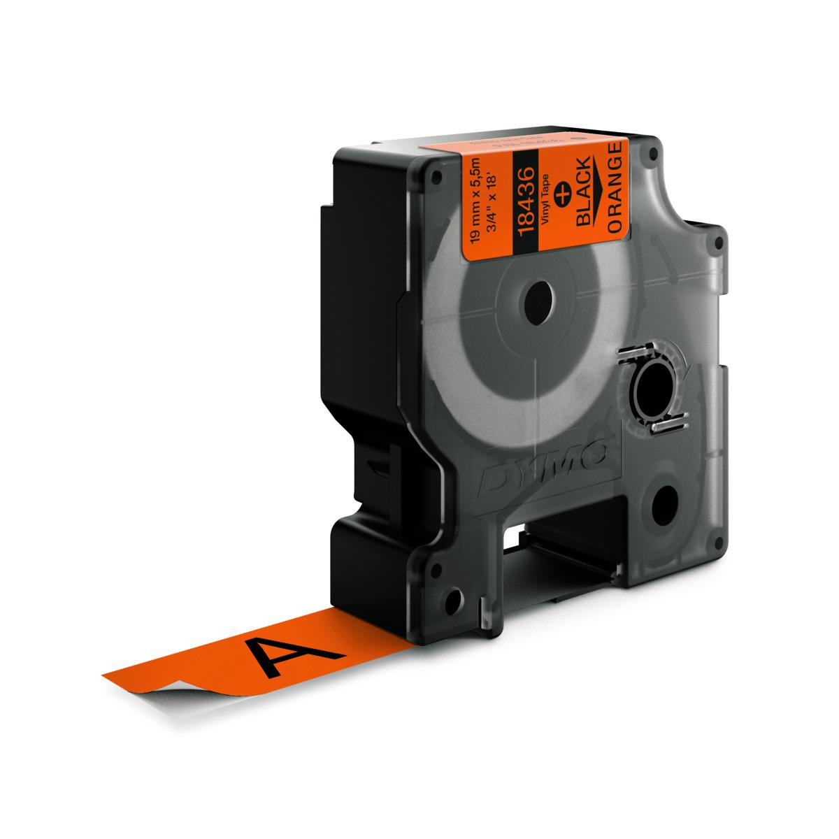 Dymo RHINO 18436 IND - vinyl label tape - 19mm zwart op oranje