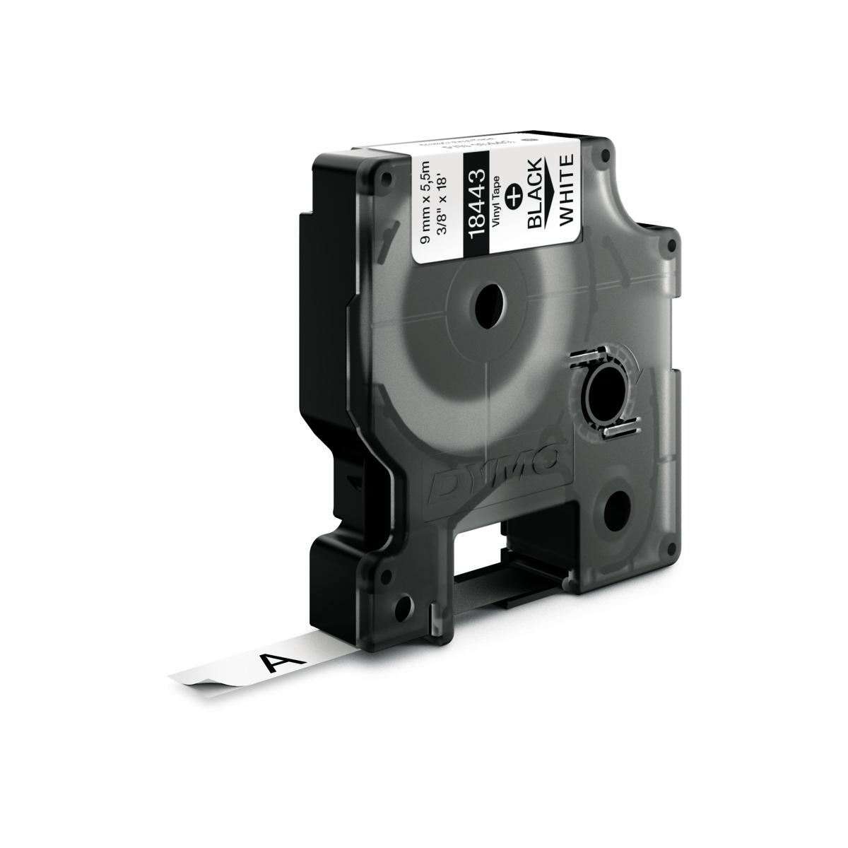 Dymo RHINO 18443 IND - vinyl label tape - 9mm zwart op wit