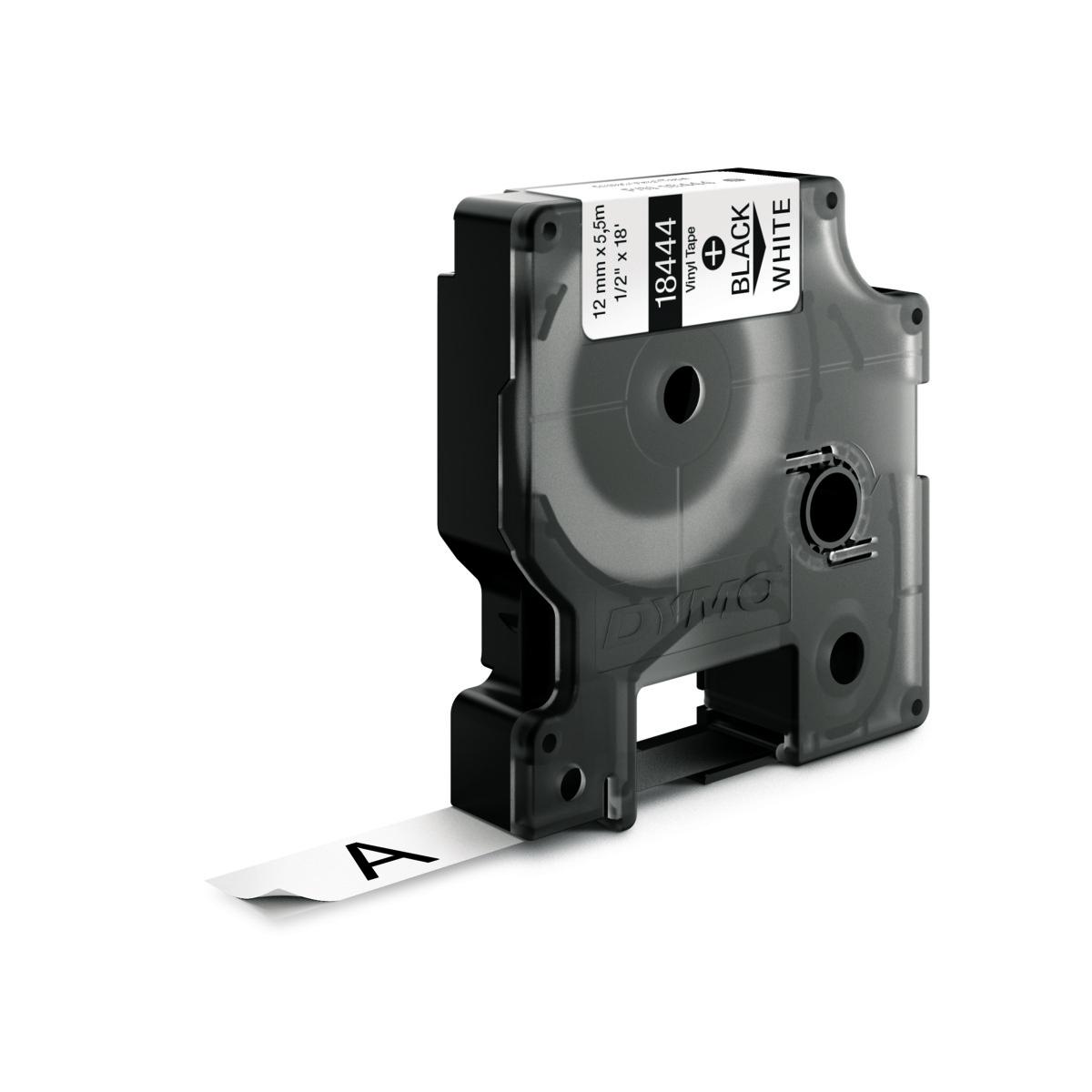 Dymo RHINO 18444 IND - vinyl label tape - 12mm zwart op wit