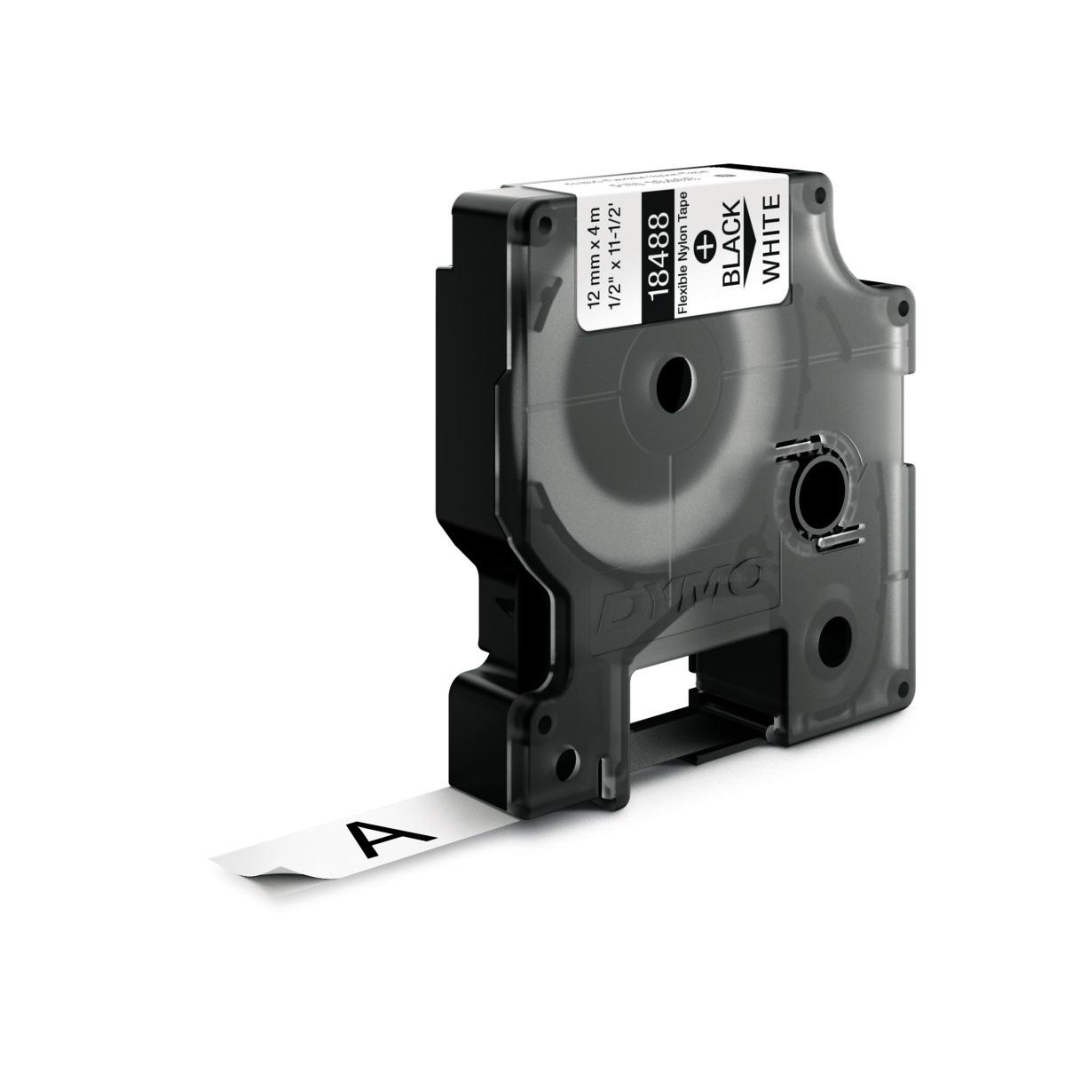 Dymo RHINO 18488 IND - Nylon label tape - 12mm zwart op wit
