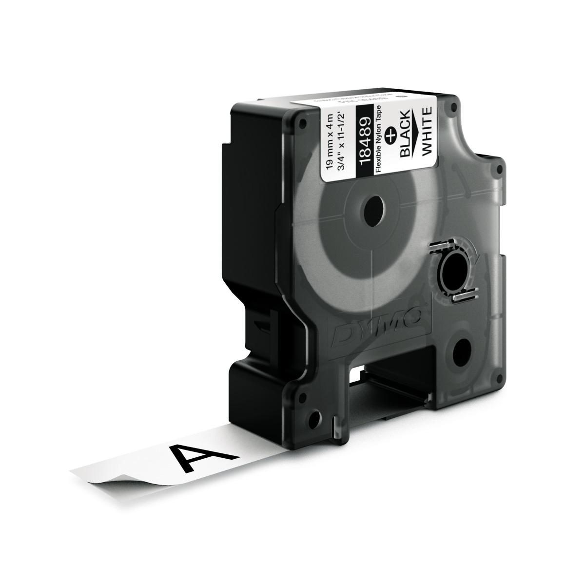 Dymo RHINO 18489 IND - Nylon label tape - 19mm zwart op wit