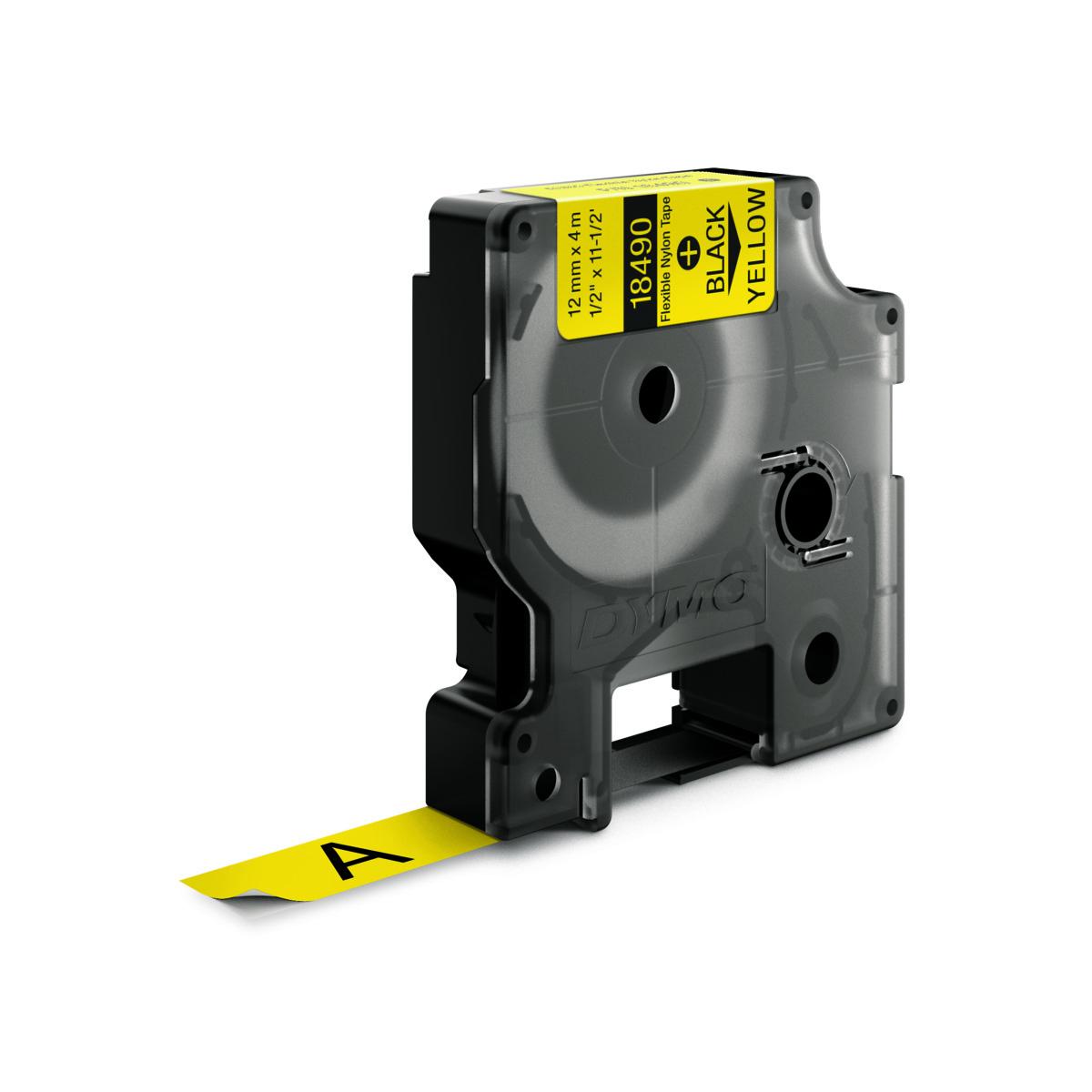 Dymo RHINO 18490 IND - Nylon label tape - 12mm zwart op geel