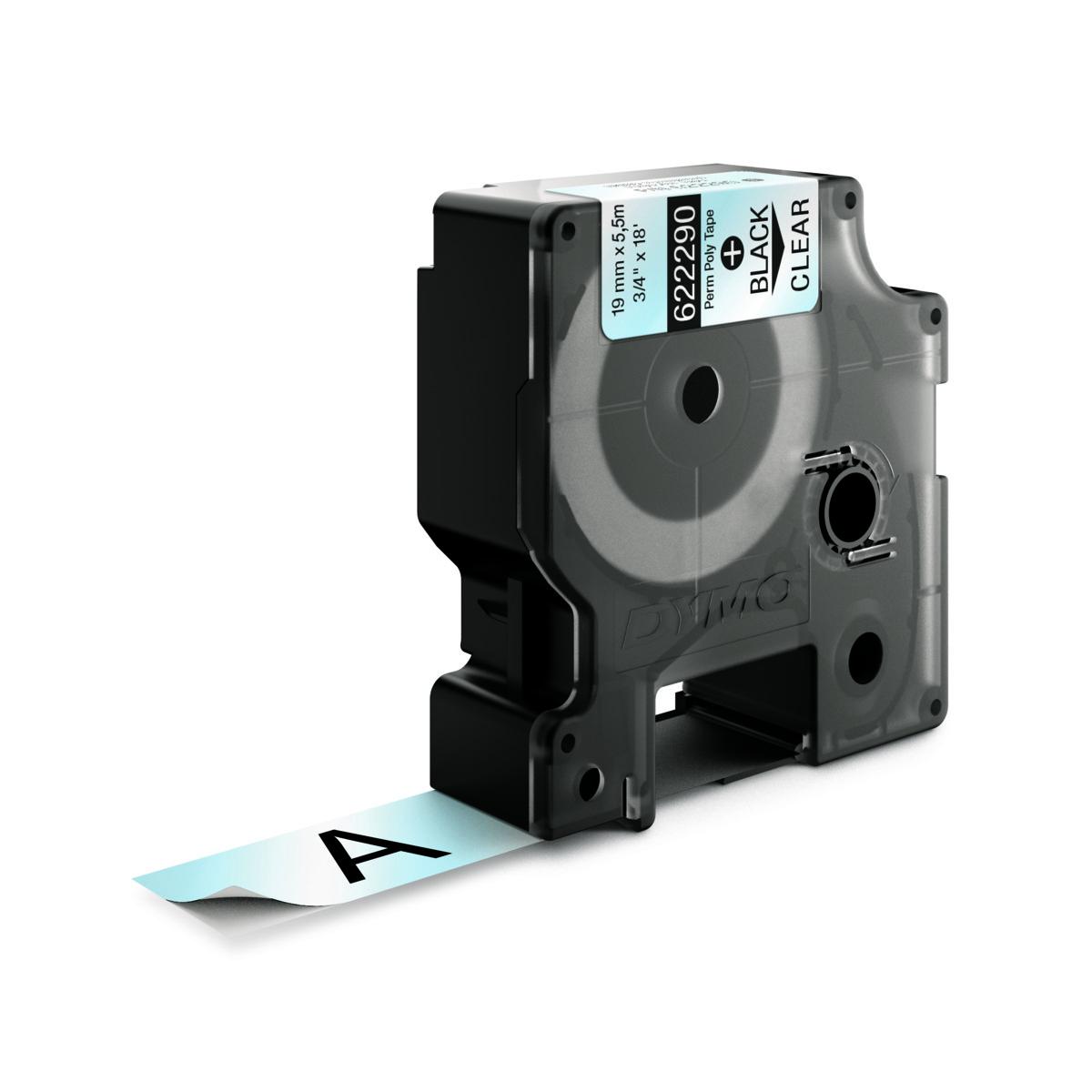 Dymo RHINO 622290 IND - Polyester label tape - 19mm zwart op transparant