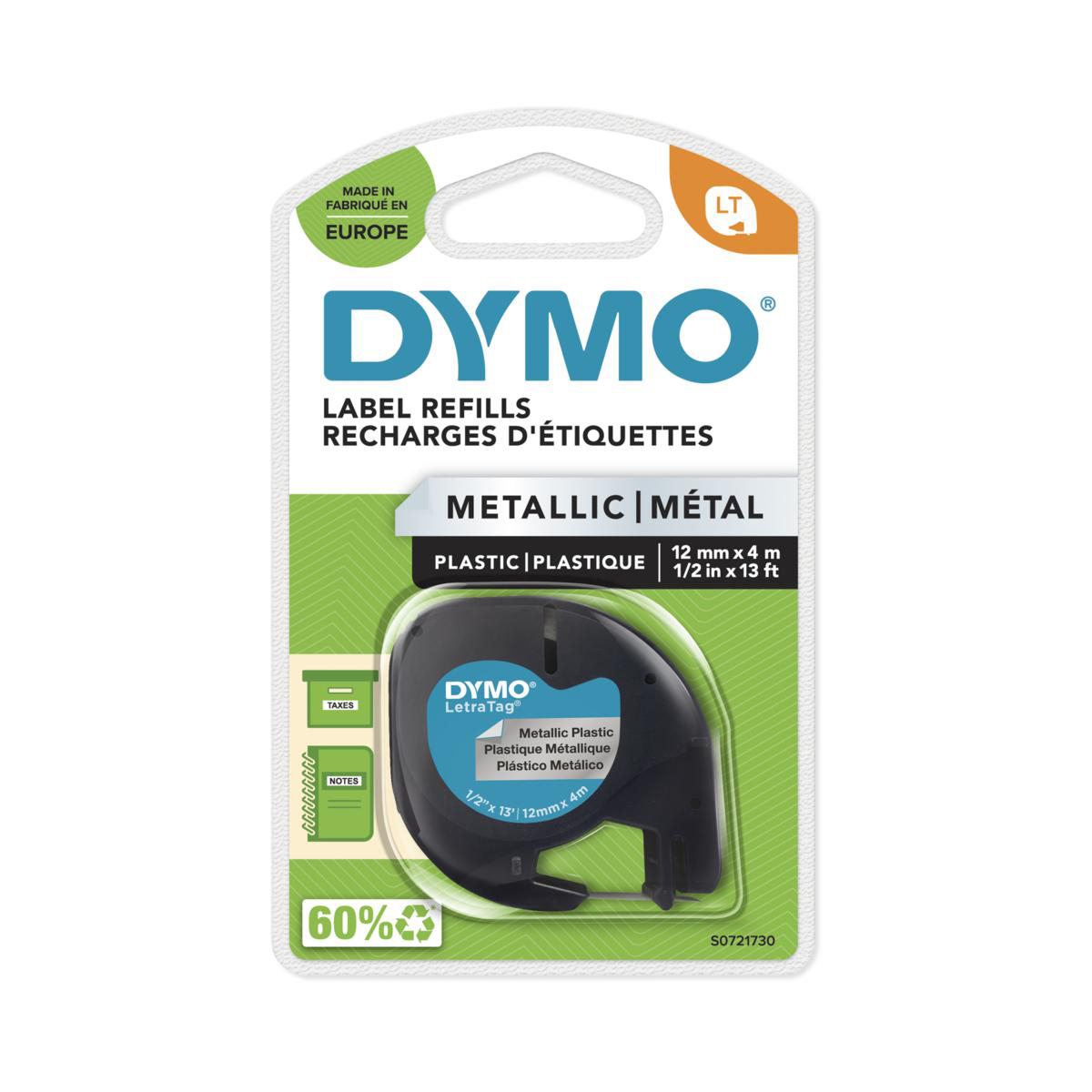 Dymo S0721730 - LetraTag label tape - zwart op metallic 12 mm