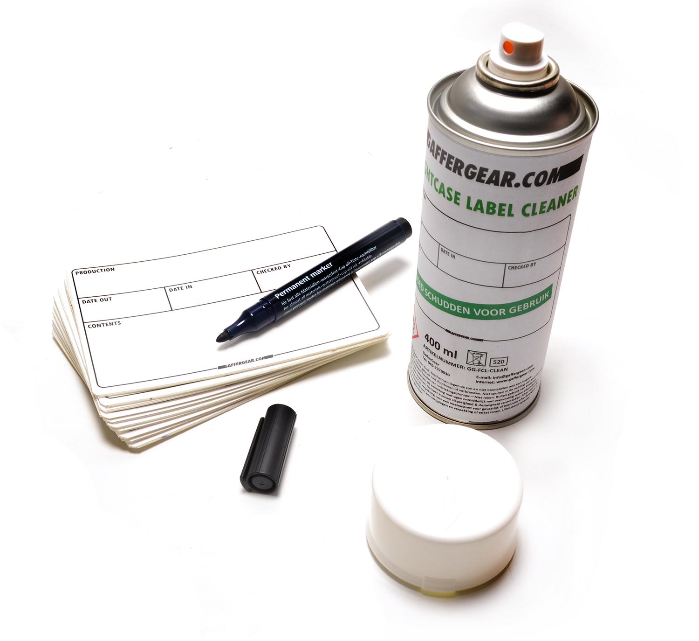 Gaffergear Flightcase label startset, 10 labels - cleaner - permanent marker