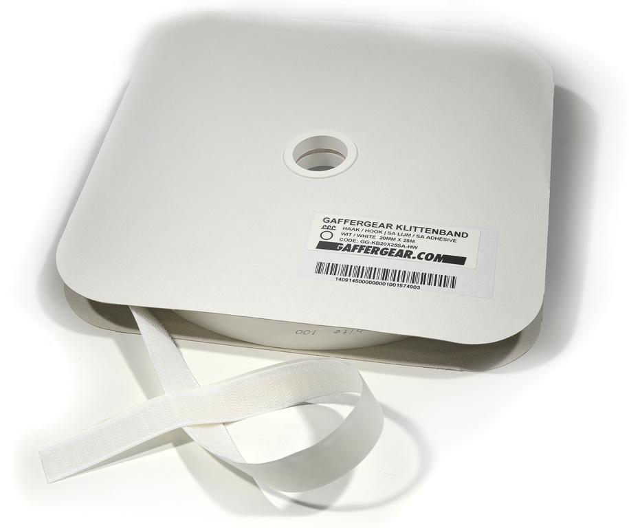 GafferGear klittenband 20mm x 25m Haak zelfklevend wit
