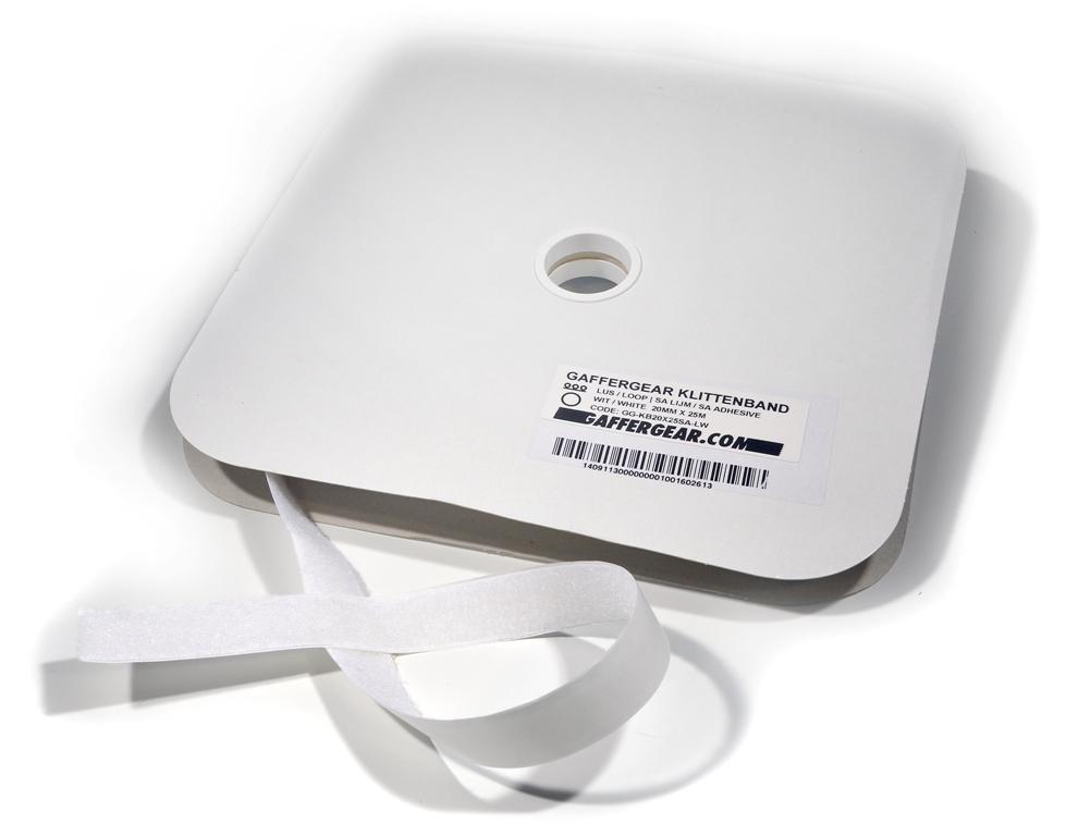 GafferGear klittenband 20mm x 25m Lus zelfklevend wit