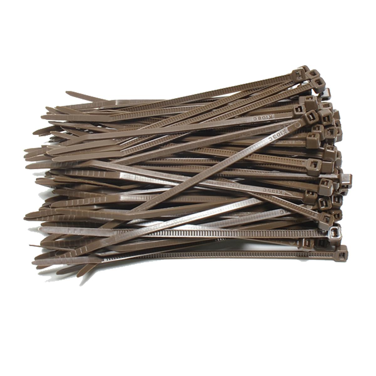 Kabelbinders 2,5 x 100 mm. bruin - zak 100 stuks