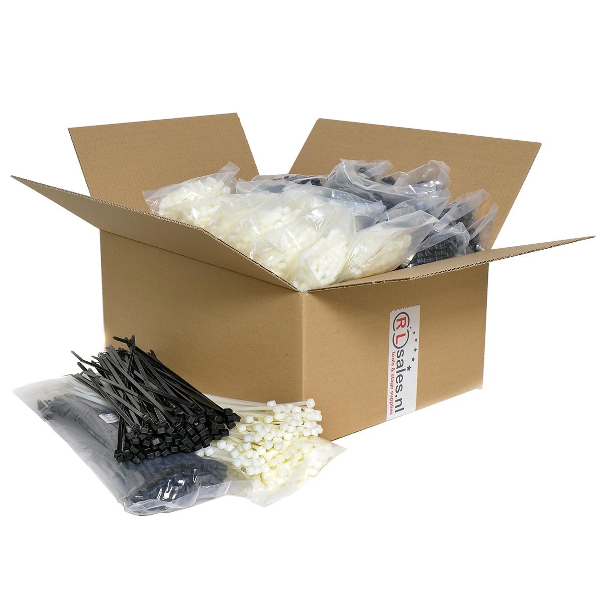 Kabelbinders 4,8 x 300 mm - 10 zakken zwart en 10 zakken wit