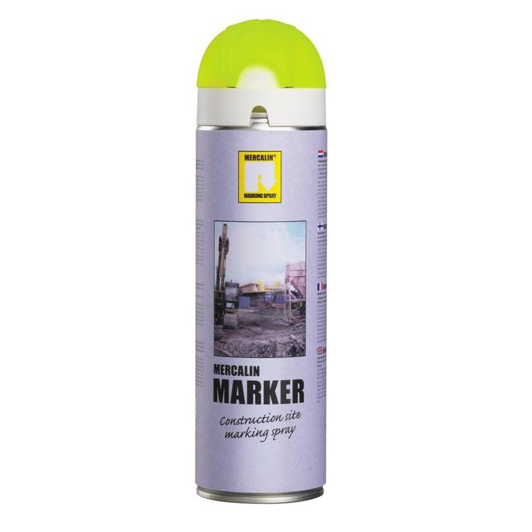 Mercalin Marker fluoriserende verf - spuitbus 500ml geel