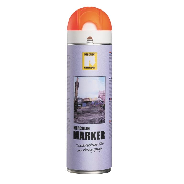 Mercalin Marker fluoriserende verf - spuitbus 500ml oranje