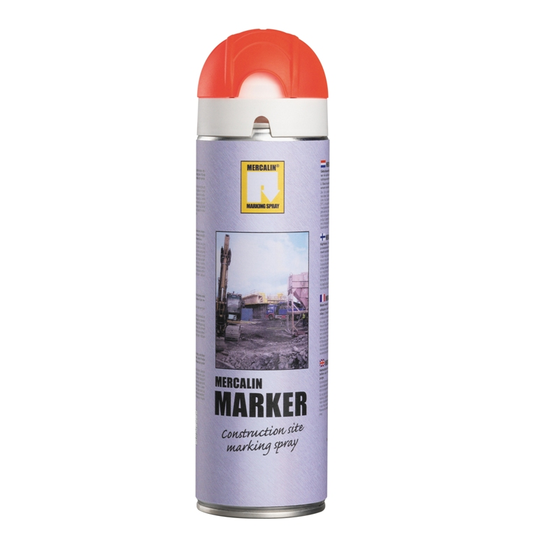 Mercalin Marker fluoriserende verf - spuitbus 500ml rood