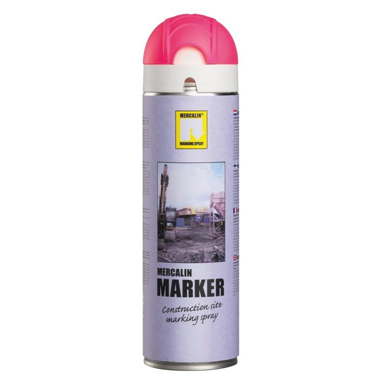 Mercalin Marker fluoriserende verf - spuitbus 500ml roze