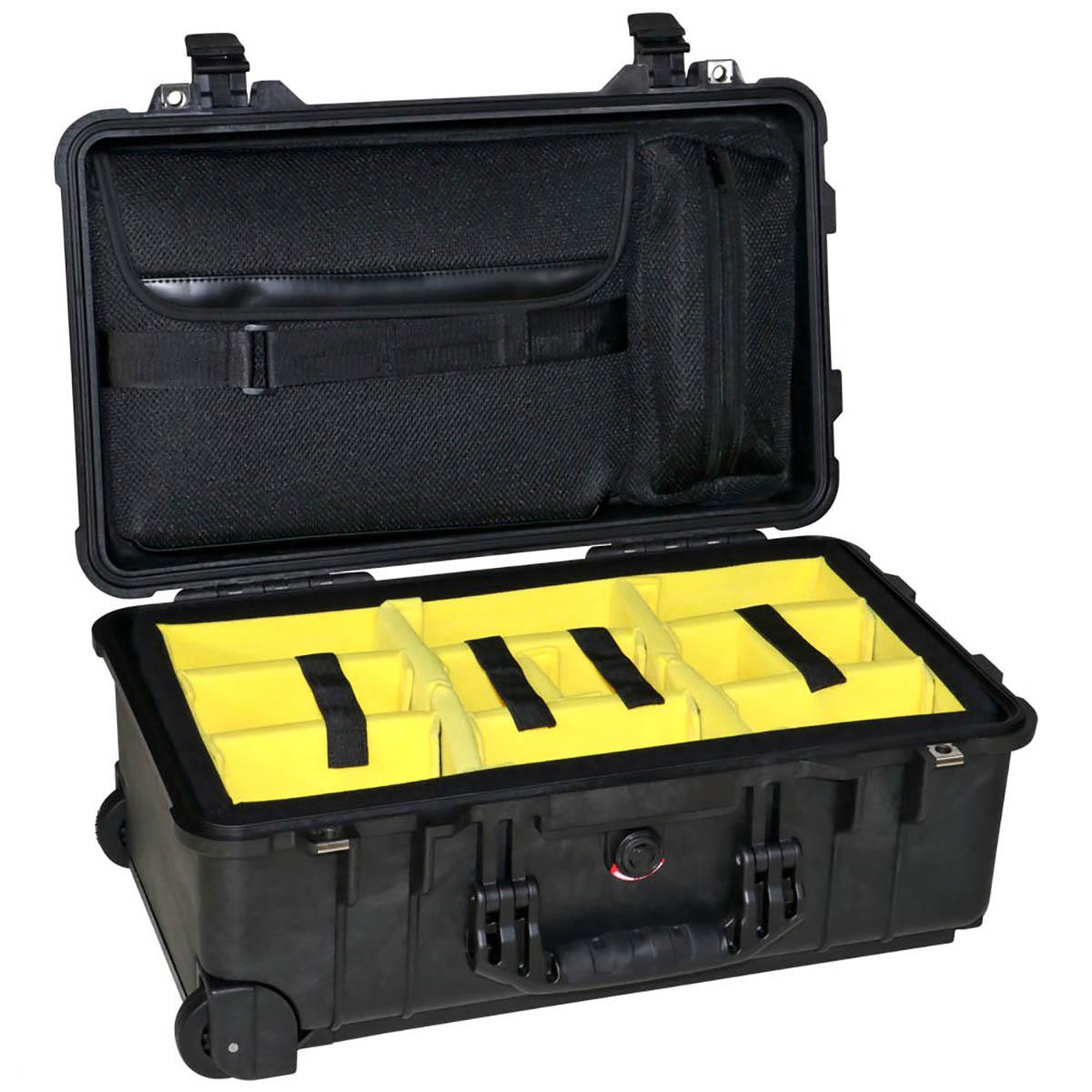 Peli Case 1510 Zwart-Met klittenband vakverdeling en laptophoes in deksel